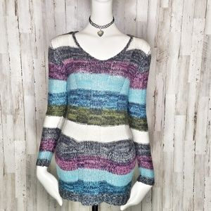 Ultra Flirt | MultiColor V-Neck Sweater Tunic
